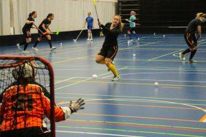 Milla Vähälä laukoo ja torjuntavastuussa tällä kaudella toistaiseksi eniten ollut Sara Seurujärvi valmistautuu torjuntaan.